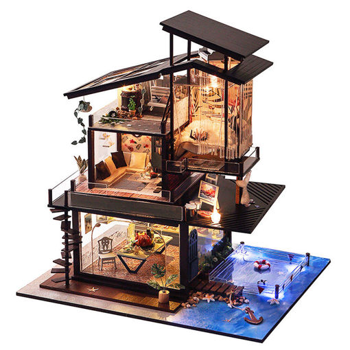 Picture of T-Yu Dollhouse DIY Valencia Coastal Villa Doll House Miniature Furniture Kit Collection Gift