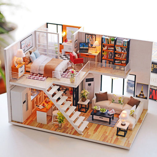 Picture of Loft Apartments Miniature Dollhouse Wooden Doll House Furniture LED Kit Christmas Birthday Gifts